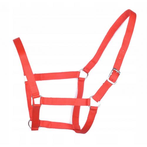 Czerwony kantar dla konia z taśmy parcianej rozmiar FULL